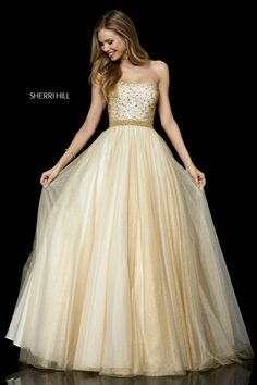 Sherri Hill 52264 Strapless beaded bodice with sparkly tulle ball gown skirt. Pretty Prom Dresses, Sherri Hill Prom Dresses, Grad Dresses, Event Dresses, Homecoming Dresses, Formal Dresses, Club Dresses, Occasion Dresses, Tulle Ball Gown