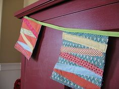 garland from fabric scraps, triangles could be cute too