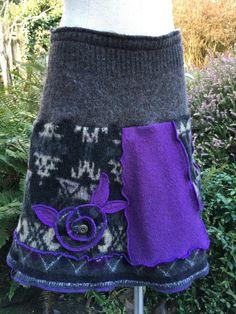 Repurposed Skirt Upcycled Wool Sweaters Hand by danamurphydesigns