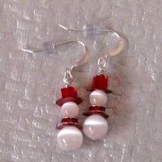 Snowman Earrings, Red Swarovski Crystal Earrings, Holiday Jewelry, Winter Earrings. $12.00, via Etsy.