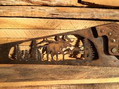 Moose Woodland Scene from Vintage Hand Saw by TooShai on Etsy