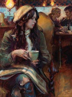 """Artist: Daniel Gerhartz. """"The people that I liked and had not met went to the big cafes because they were lost in them and no one noticed them and they could be alone in them and be together."""" ~ Ernest Hemingway"""