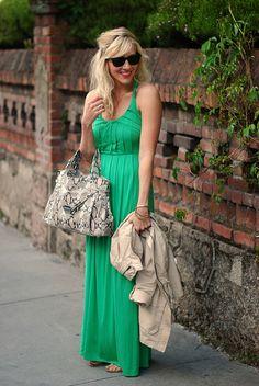 green dress and snakeskin bag @Taylor Sterling