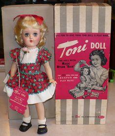Vtg 1951 Ideal Blonde P-90 Toni Doll Tags Box | eBay