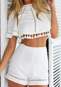 Hollow Tassel Crop Top With High Waist Slim Shorts on ShopStyle