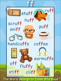 ff words Phonics Poster - FREE & PRINTABLE - Auditory Discrimination, Exploring Letter Sounds, Literacy Groups, Phonics Word Wall Poster or a Class Book Phonics For Kids, Phonics Reading, Teaching Phonics, Teaching Reading, Kids Learning, Learning Spanish, English Phonics, English Grammar Worksheets, English Vocabulary