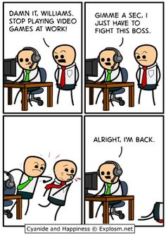 Gamers and their boss.