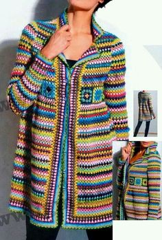 There are unique jacket, yes it's DIY Crochet Granny Square Jacket Cardigan Free Patterns Inspirations that will enhanced you styles. Pull Crochet, Gilet Crochet, Mode Crochet, Crochet Coat, Crochet Cardigan Pattern, Crochet Jacket, Crochet Granny, Crochet Shawl, Crochet Clothes