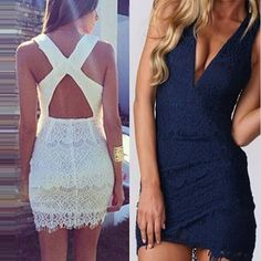 Sexy Backless Deep V-neck Slim Fit Lace Dress Hat World, Lace Dress, Dress Up, Denim T Shirt, Summer Outfits, Summer Dresses, Work Looks, Her Style, Dress Outfits