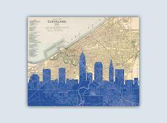 Cleveland Skyline,  Cleveland Art Print, Wedding Gift, Cleveland Ohio Art…