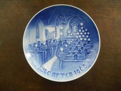Danish Bing Grondahl 1968 Christmas plate Copenhagen porcelain B&G plate Blue White Christmas plate Limited edition collectible from Etsy's TasteVintage