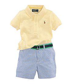 Ralph Lauren Childrenswear Mesh Polo Shirt Seersucker Shorts and Ribbon Belt Set #Dillards
