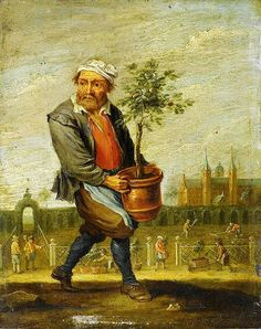 1644 David Teniers the Younger (1610–1690) Spring. Love the Gardeners in the background moving pots outdoors and raking the garden.