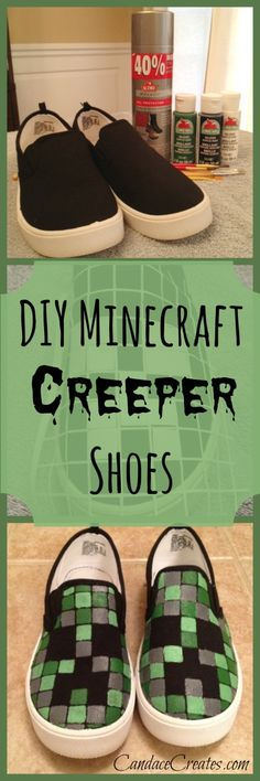 DIY #Minecraft #Creeper Shoes!