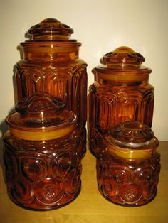 ULTRA cool 1960s amber glass canister set moon by oakiesclaptrap, $29.99