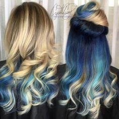 Hair Under-Impressions-Underlights Hair - Hair Styles Blue Hair Highlights, Peekaboo Hair, Underlights Hair, Balayage Hair Blonde, Blonde And Blue Hair, Corte Y Color, Ombre Hair Color, Hair Colors, Ombre Nail