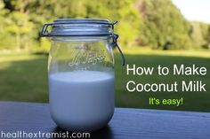 How to Make Coconut  Milk 1 and 1/2 cups of coconut flakes or shredded coconut, 3 cups of water, Blender, A nut-milk or cheesecloth bag