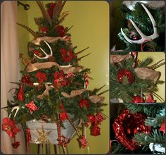 Rustic Christmas Tree - the tree is kinda ugly... the antlers are cool and the tub that it is sitting in...