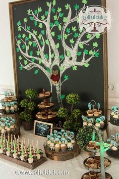 Tree theme Candy buffet / Forest / Rustic/ Natural / Animals Candy Bar / dessert table / Sweet Table / Coltul Dulce / www.coltuldulce.ro