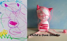 Toys made after children's drawings! cat
