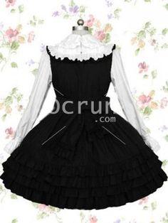 Schwarz And Weiß mit langen Ärmeln Rüschen Baumwolle Gothic Lolita Kleid
