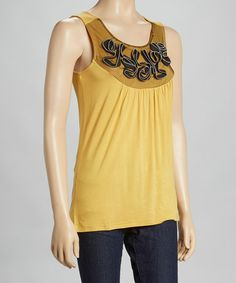 Look at this #zulilyfind! Yellow & Black Ruffle Sleeveless Top - Women by Funky People #zulilyfinds