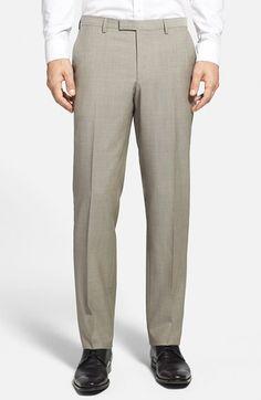 BOSS HUGO BOSS 'Sharp' Flat Front Wool Trousers | Nordstrom