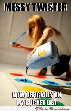 Get a .99 cent white plastic tablecloth, spray paint the spots as a grid, poured the paint, and have a friend use the Twister spinner app to play.