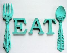 cast iron shabby chic distressed turquoise cast fork and spoon and eat for kitchen decor - Turquoise Kitchen Decor