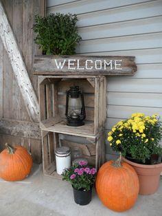 Fall decor on farmhouse porch