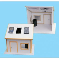 Solar Electric Kit for Science Fair Projects  Build an environmentally friendly miniature house with working appliances. This kit, ideal for any classroom or science fair project, provides the main components to power a solar ceiling fan and light bulb. You construct the house from the included blueprint using the kit's solar panels and materials you provide. When completed, the house is a working demonstration of solar thermal, solar energy, and photovoltaic power.