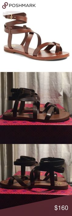 """Tory Burch  Patos Gladiator Vanchetta Brown Sandal Rich leather straps crisscross these Tory gladiator sandals. Wraparound ankle strap with buckle closure. Low heel and rubber sole. Leather: Cowhide. Imported, Brazil. Heel: 0.5in, 15mm  A flat gladiator sandal with wraparound ankle straps is upgraded in gilded leather and is the perfect way to show off your latest pedi. 4"""" strap height Adjustable strap with buckle closure Leather upper and lining/synthetic sole Tory Burch Shoes Sandals"""