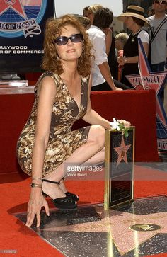 Actress Susan Sarandon poses at the ceremony honoring her with a star on the Hollywood Walk of Fame on August 5, 2002 in Hollywood, California.