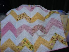 Baby girl chevron quilt with cherry on top fabric