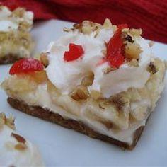 Banana Split Bars - Cream cheese, whip topping, bananas, coconut, pineapple on a graham cracker crust