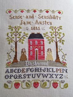 Mary Kathryn's finish of LHN's Virtue Sampler with some slight changes to make it a Jane Austen tribute.  Great idea!