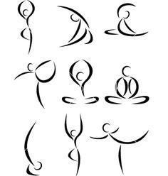 Yoga aasan pose logo icon