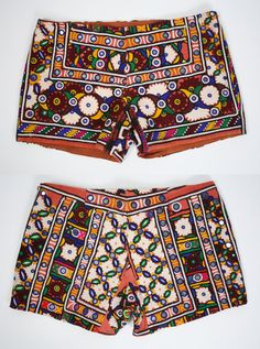 Embroidered SHORTS Bohemian VINTAGE Indian cotton by renewvintage