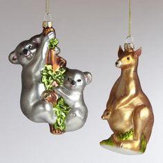 One of my favorite discoveries at WorldMarket.com: Glass Kangaroo and Koala Ornaments, Set of 2
