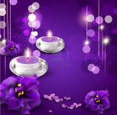 vector background with romantic candles and violets on purple background