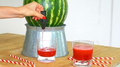 With just a few easy steps, turn a watermelon into a keg, then fill with any beverage you want for your next backyard party or barbecue.