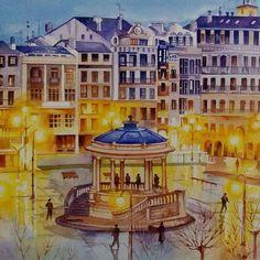 Plaza del Castillo, Pamplona, Spain , watercolour by Anurag Mehta, Udaipur , India Available