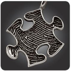Sterling silver fingerprint puzzle piece.  Custom fingerprint jewelry by Imprint On My Heart.  Personalize with handwriting or inscription on back.
