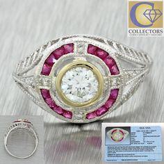 1930s Antique Art Deco 18k Solid White Gold .57ct Diamond .48ctw Ruby Ring EGL