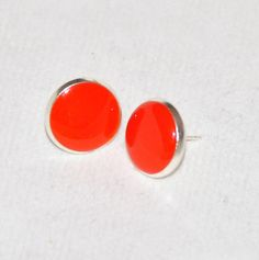 Tangerine Orange Opaque Silver Resin Post Earrings 12mm - by Blossom Couture