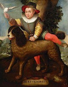 Sofonisba Anguissola (also spelled Anguisciola) (Italian Renaissance painter) ca. 1532 - 1625 , Boy and Dog, `Bibius Vincit'