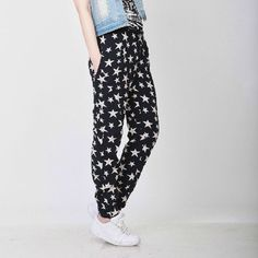 Starts Print High Waist Cotton Pants