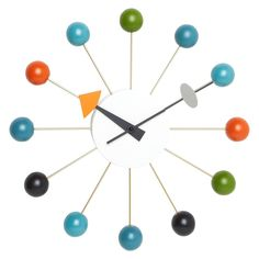 Mid-Century Modern Reproduction Ball Clock - Multi color Inspired by George Nelson — France & Son Planter Table, Mid-century Modern, Contemporary, Modern Clock, Modern Wall, Black Floor Lamp, Lighting Sale, Magnolia Homes, Modern House Design