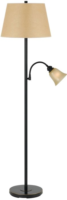 "Excellent quality very sturdy all metal floor lamp with bronze finish, fabric lamp shade = 12""x16""x10.5"" (top x bottom x side), glass shade = 5"" wide, 11"" wide base, excellent for reading, sewing and work projects, adjustable gooseneck directs the light right to the side right where you want it, convenient 3 way switch,%..."