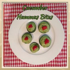 Cucumber Hummus Bites  1 Lebanese cucumber (cut into 5cm circular bites) SPINACH HUMMUS * 1 can chickpeas (drained & rinsed) * 1 tbs tahini * 1 garlic clove (crushed) * 1/2 lemon (juiced) * 1 large handful baby spinach * 1/4 cup apple cider vinegar * 1/4 cup water * Add pepper & favourite herbs  Process until a smooth consistency  Spoon onto cucumber bites & top with diced red capsicum  Optional: sprinkle paprika on top
